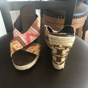 Authentic Tory Burch Pattern Wedges